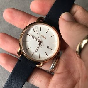 FOSSIL | Neely Stainless Steel Leather & Quartz